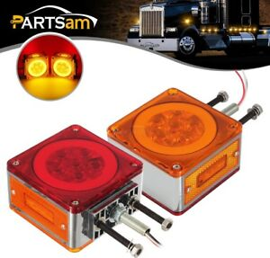 2pcs Truck Trailer Led Square Fender Turn Signal Halo Lights Amber Red 63 Diodes