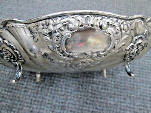 Antique English 850 Silver 4 Footed Fancy Handle Serving Bowl Dish