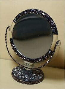Swarovski Mirror Free Standing 2 Sided Lucite Purple Stones Gorgeous