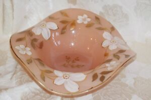 German Pink Hand Painted Gold Gilded Large Brides Basket Bowl Centerpiece 13