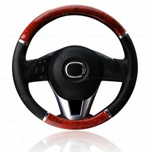 Zone Tech Wood Grain Steering Wheel Cover Car Truck Van Suv Black Pu Leather