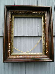 Deep Antique Victorian Carved Eastlake Picture Frame Silver Gold Gilt Liner 8 10