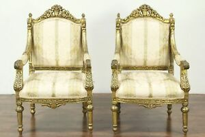 Pair Of Carved Vintage Arm Chairs Distressed Gold Finish