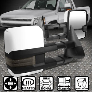 For 99 02 Silverado Sierra Chrome Powered Heat Smoked Led Signal Towing Mirror