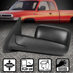 For 02 09 Dodge Ram Truck Left Side Manual Adjustment Flip Up Tow Towing Mirror