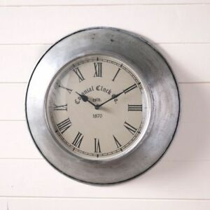 Country Colonial Design New Springhouse Round Tin Wall Clock