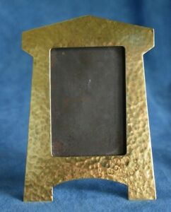 True Antique Hand Hammered Arts Crafts Brass Mission Picture Photo Frame