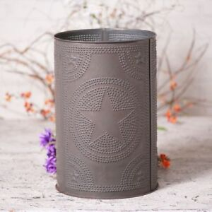 Country New Blackened Punched Tin Star Waste Basket Nice