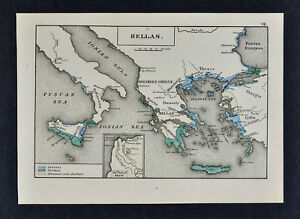 1880 Labberton Map Ancient Hellas Greece Ionians Dorians Troy Italy Athens