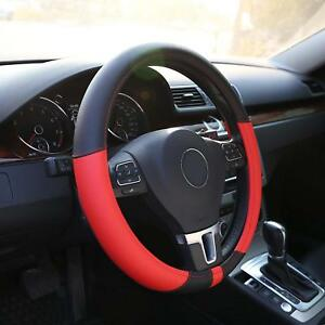 Black Red Leather Steering Wheel Cover Wrap For Bmw E39 E46 325i 328i E53 X5 X3