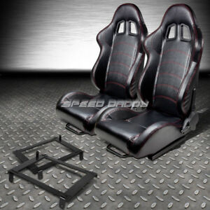 2 Pvc Leather Red Stitches Racing Seat Low Mount Bracket For 02 06 Dc5 Acura Rsx