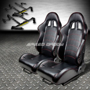 2x T1 Pvc Leather Black Racing Seat slider 4 point Black Harness Buckle Belts