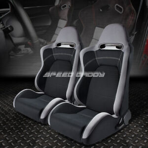 2x Fully Reclinable Gray Black Cloth Type R Style Bucket Racing Seat Slider Rail
