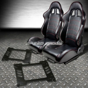 2 Pvc Leather Red Stitches Racing Seats Bracket For 92 95 Honda Civic Eg Ej1 Eh