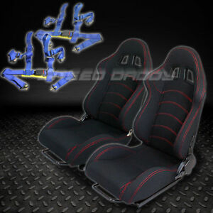 2 X Universal Type f1 Black Woven Racing Seats slider 4 point Harness Blue Belts