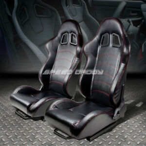 Pair Black Fully Reclinable Pvc Leather Racing Seat Seats Adjustable Slider L R