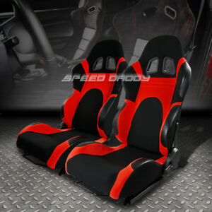 2 X Universal Lightweight Fully Reclinable Racing Seats sliders Type 6 Black red