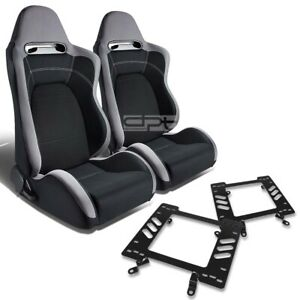 Type r Racing Seat Gray Black Cloth silder for 79 98 Ford Mustang Bracket X2