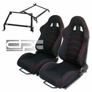 Reclinable Red Stitch Black Cloth canvas Racing Bucket Seats crx Seat Brackets