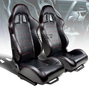 X2 Pair Reclinable Left right Black Pvc Leather Red Stitch Bucket Racing Seat