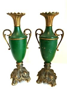 Antique Pair Metal Shaped Urn Vase Ornate Base Handles Deep Green 12 24 In Tall