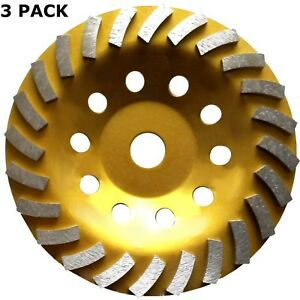 3pk 7 x24segs Diamond Grinding Cup Wheels For Concrete 7 8 5 8 Arbor