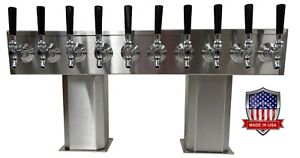 Stainless Steel Draft Beer Tower Made In Usa 10 Faucet Glycol Ready ptb 10ssg op