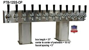 Stainless Steel Draft Beer Tower Made In Usa 12 Faucet Glycol Ready ptb 12ssg op
