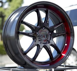 18x9 5 38 F1r F102 5x114 3 Black Red Wheels Fits 240sx Civic Si Accord 8th Gen