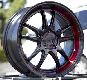 18x9 5 38 F1r F102 5x114 3 Black Red Lip 5x4 5 Rims Wheels 3 Lip Set Of 4