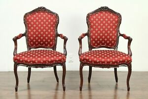 Pair 1930 S Vintage Carved French Walnut Chairs New Upholstery 28573