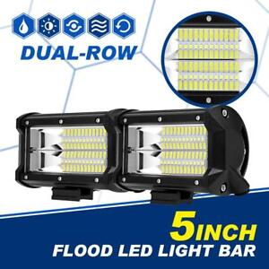 5 Inch 288w Cree Led Work Light Bar Flood Beam Offroad 4wd Truck Suv Atv 6 7
