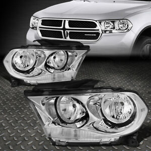 For 11 13 Dodge Durango Chrome Housing Clear Corner Headlight Replacement Lamps