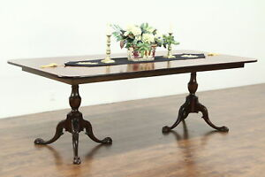 Georgian Style Banded Mahogany Dining Table 2 Carved Pedestals