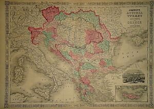 Vintage 1865 Austria Turkey Greece Map Old Antique Original Atlas Map 41418