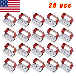 20 Pcs Dental Burs Holder Disinfection Aluminium Autoclave Box 20 Holes From Usa