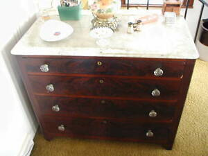 Antique Marble Top 4 Drawer Cherry Dresser