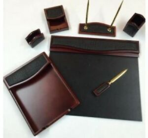 7 Pc Desk Organizer Set Home Office Table Accessory Workstation Leather Brown