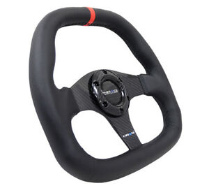 Nrg St 019cfr Carbon Fiber Series Flat Bottom Steering Wheel 320mm Black Leather