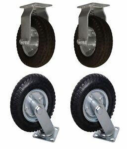 4 Pack 8 Air Tire 2 Swivel 2 Fixed Base Caster Heavy Duty Bearing Pneumatic