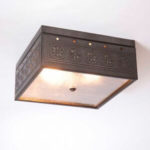 Kettle Black Punched Tin Square Ceiling Light In Blackened Tin