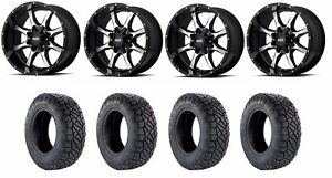 Set Of 4 Nitto 217 030 Tires Moto Metal Mo97021086324n Gloss Black Wheels