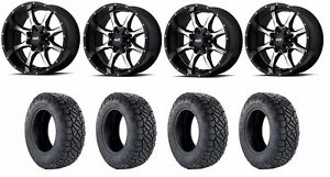 Set Of 4 Nitto 217 030 Tires Moto Metal Mo97029067300 Gloss Black Wheels