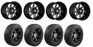Set Of 4 Nitto 205 590 Tires Centerline 838bm 2106825 20x10 Black Wheels
