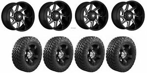 Set Of 4 Nitto 374 000 Tires Centerline 838bm 2106825 20x10 Black Wheels