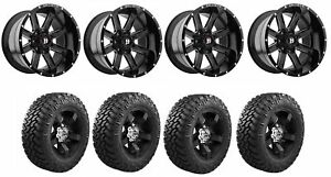 Set Of 4 Nitto 205 800 Tires Ballistic 959200267 19gbx Gloss Black Wheels