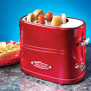 Hot Dog Cooker Machine Bun Warmer Red Retro Pop up Toaster Hdt600retrored