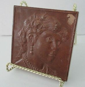 Hamilton Tile Works Pottery Tile Relief Classical Woman By Artist Otto Metzner