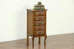 Country French Oak Vintage Jewelry Chest Or End Table France 28491