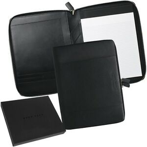 Hugo Boss A4 Zip Writing Case Leather Car Design Conference Folder